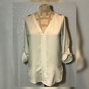 Zara Blouse Cream with black polka dots Size Small